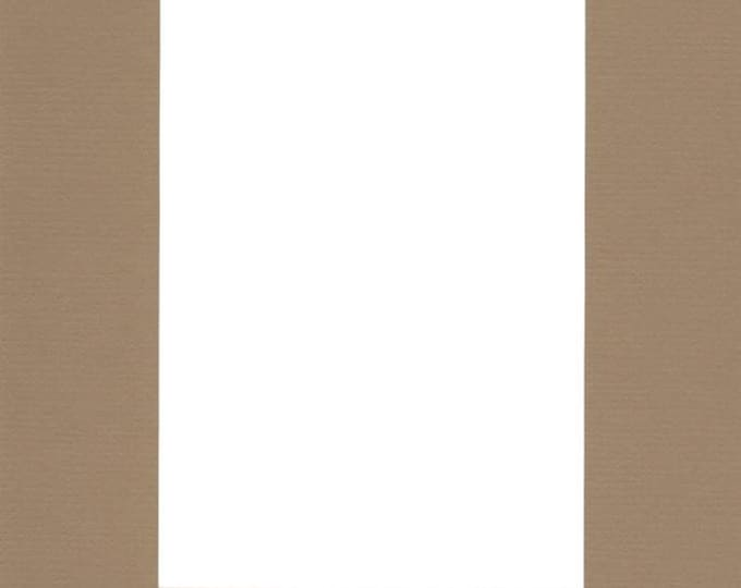 Pack of (5) 8x10 Acid Free White Core Picture Mats cut for 5x7 Pictures in Khaki