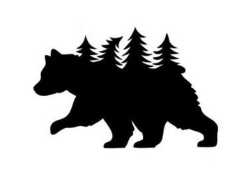 Bear with Trees Stencil Made from 4 Ply Mat Board-Choose a Size-From 5x7 to 24x36