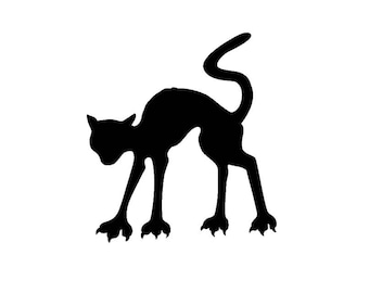 Pack of 3 Halloween Cat Stencils Made from 4 Ply Mat Board, 11x14, 8x10 and 5x7 -Package includes One of Each Size