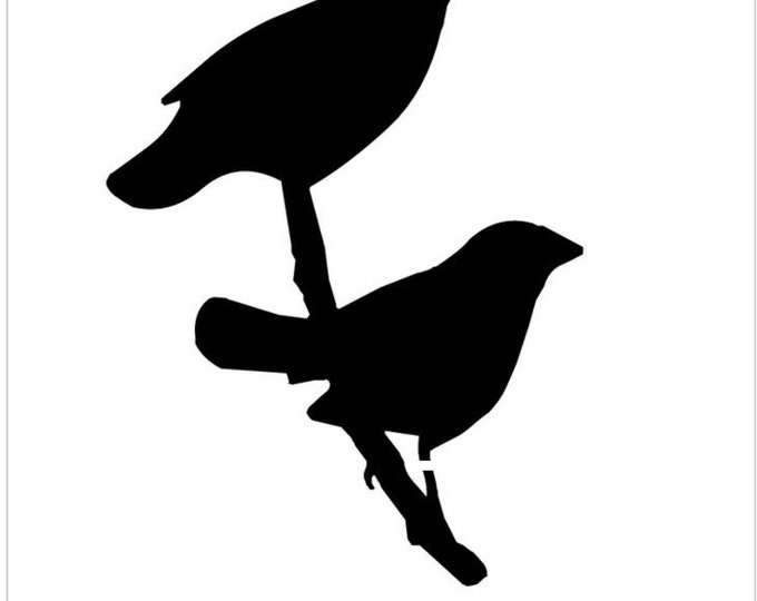 Pack of 3 Two Bird on Branch Stencils Made from 4 Ply Mat Board, 16x20, 11x14 and 8x10 -Package includes One of Each Size