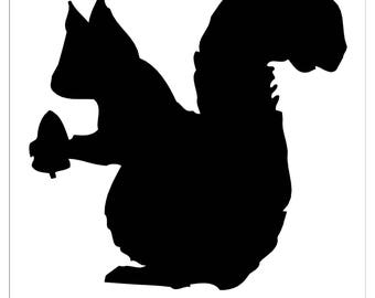 Pack of 3 Squirrel with Acorn Stencils Made from 4 Ply Mat Board, 11x14, 8x10 and 5x7 -Package includes One of Each Size