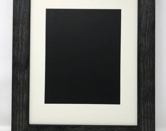 """18x24 1.75"""" Rustic Black Solid Wood Picture Frame with Cream Mat Cut for 13x19 Picture"""
