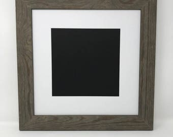 """Pack of 3 12x12 Square1.75"""" Rustic Grey Solid Wood Picture Frames with White Mat Cut for 8x8 Pictures"""