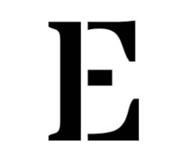 Letter E Stencil Made from 4 Ply Mat Board-Stardos Font