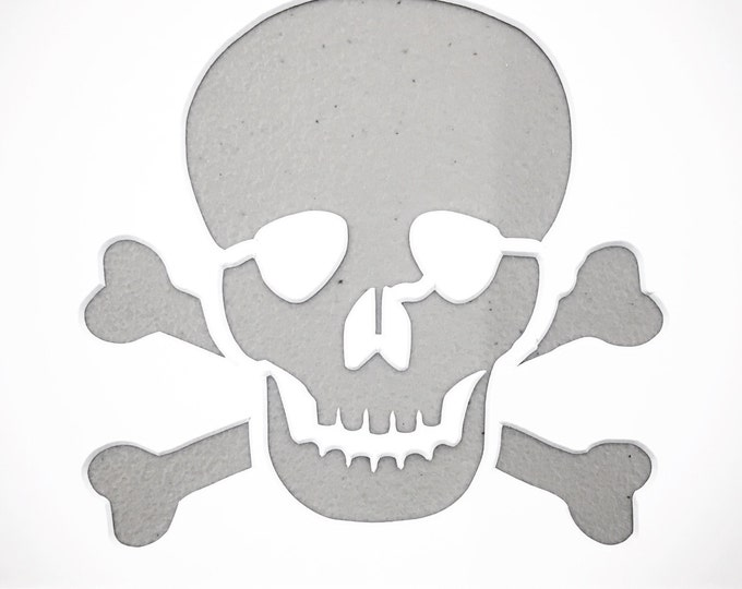 Pack of 3 Skull and Crossbones Stencils Made from 4 Ply Mat Board, 11x14, 8x10 and 5x7 -Package includes One of Each Size
