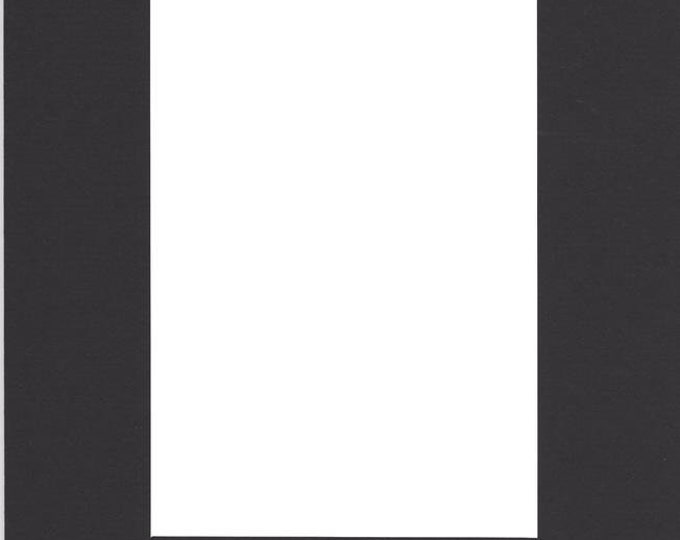 Pack of (5) 11x14 Acid Free White Core Picture Mats cut for 8x10 Pictures in Black