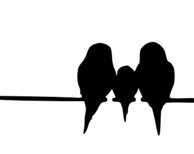 Three Birds on Wire Stencil Made from 4 Ply Mat Board-Choose a Size-From 5x7 to 24x36