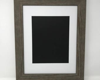 """22x28 1.75"""" Rustic Grey Solid Wood Picture Frame with White Mat Cut for 18x24 Picture"""