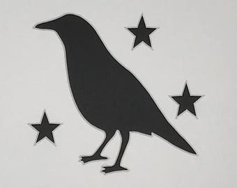 Pack of 3 Primitive Crow with Stars Stencils Made from 4 Ply Mat Board, 11x14, 8x10 and 5x7 -Package includes One of Each Size