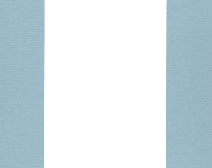 Pack of (5) 11x14 Acid Free White Core Picture Mats cut for 8x10 Pictures in Sheer Blue