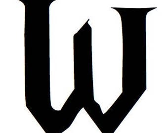 Letter W Stencil Made from 4 Ply Mat Board-Wizard Font