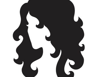 Female Womans Head with Flowing Hair Stencil Made from 4 Ply Mat Board