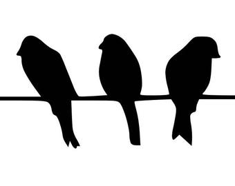 Five Birds on Wire Stencil Made from 4 Ply Mat Board-Choose a Size-From 5x7 to 24x36