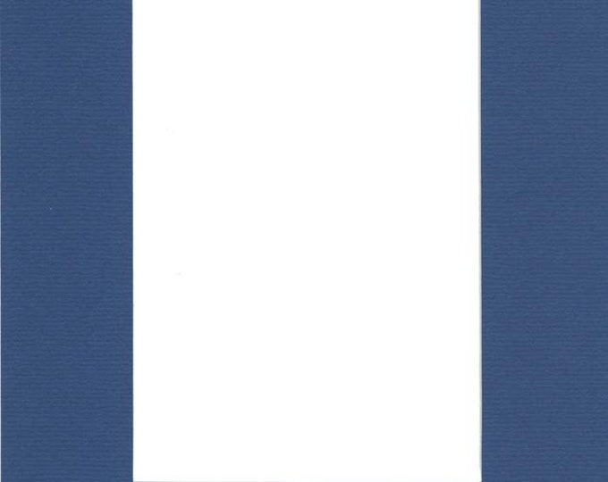 Pack of (2) 16x20 Acid Free White Core Picture Mats cut for 11x14 Pictures in Royal Blue