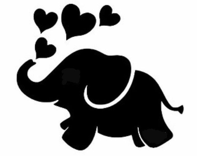 Pack of 3 Elephant with Hearts Style 1 Stencils Made from 4 Ply Mat Board, 11x14, 8x10 and 5x7 -Package includes One of Each Size