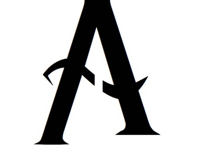 Letter A Stencil Made from 4 Ply Mat Board-Wizard Font