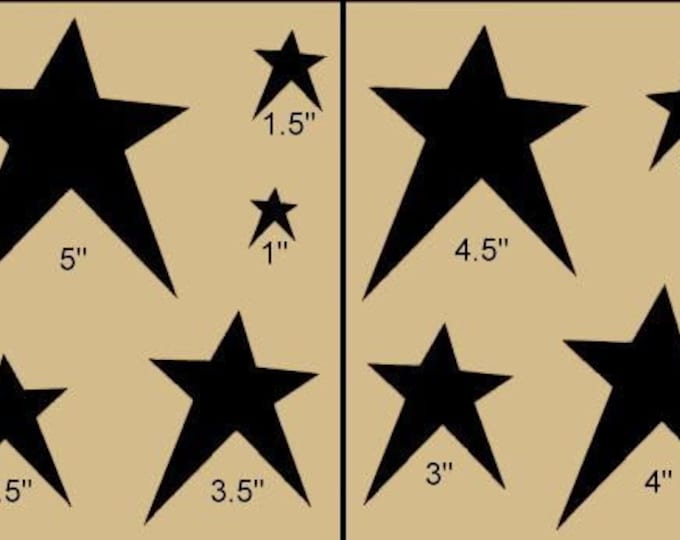Primitive Star Collection Stencil Made from 4 Ply Mat Board