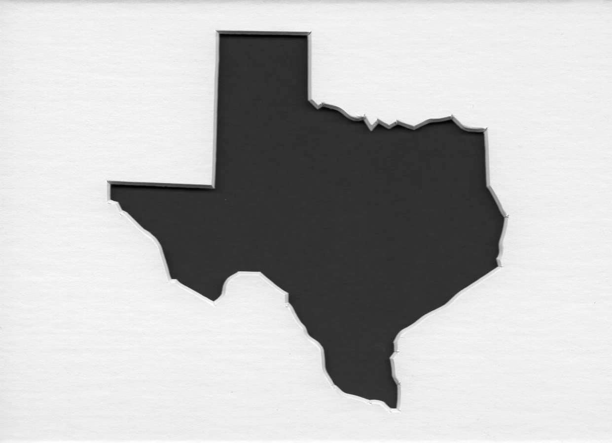 Texas State Stencil Made From 4 Ply Mat Board Choose A