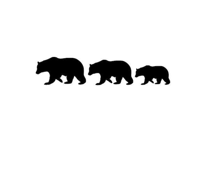 Bear Family Stencil, Three Bears, Stencil Made from 4 Ply Mat Board