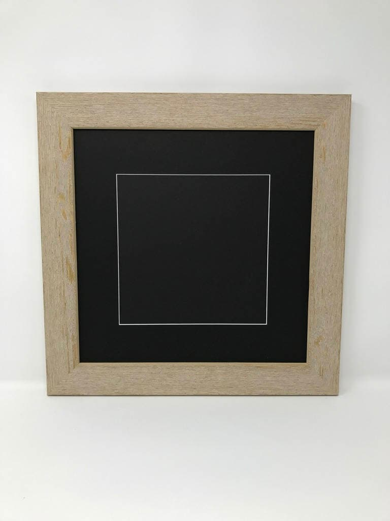 12x12 Square 1.75 Rustic Beige Solid Wood Picture Frame with Black ...