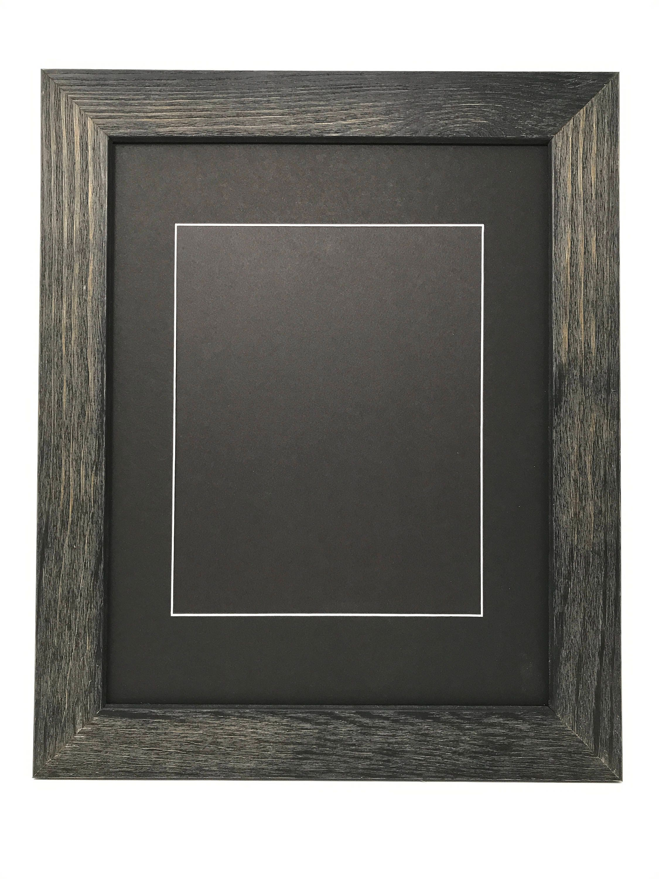 11x14 1.75 Rustic Black Solid Wood Picture Frame with Black Mat Cut ...