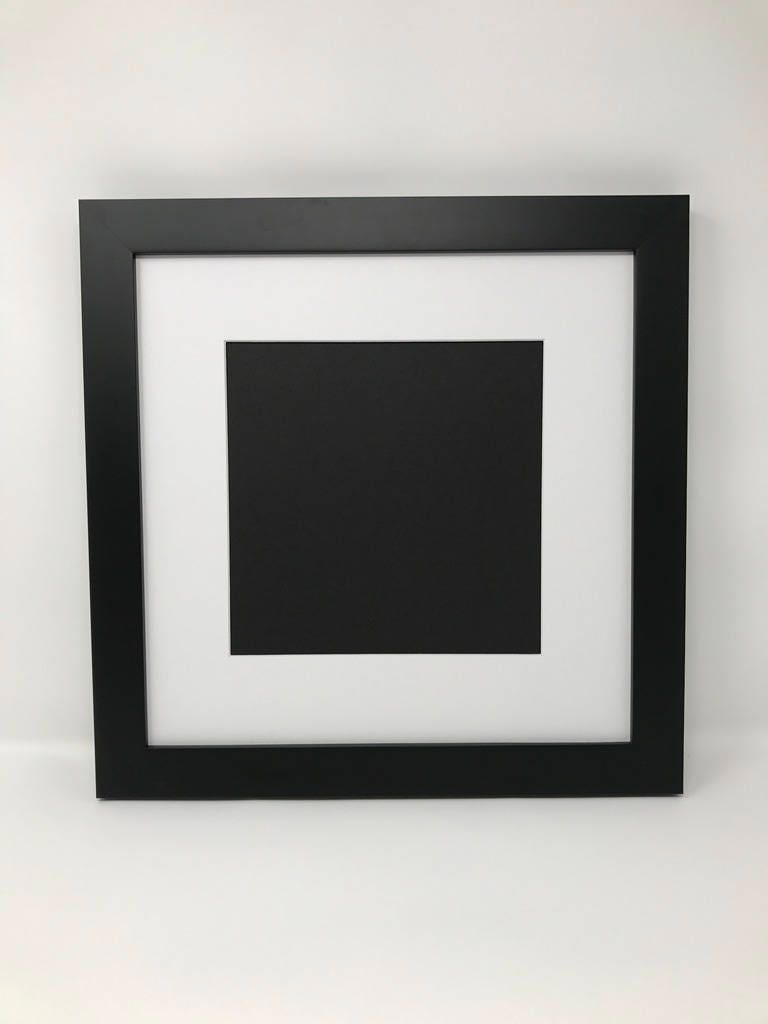 12x12 1.25 Black Solid Wood Picture Frame with White Mat Cut for 8x8 ...