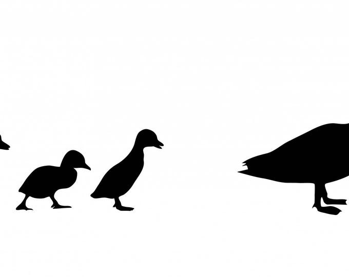 Duck and Ducklings Stencil Made from 4 Ply Mat Board-Choose a Size-From 5x7 to 24x36