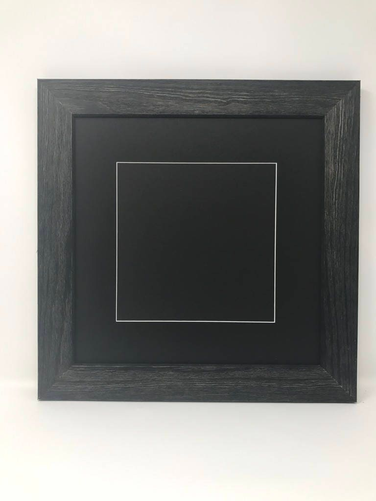 12x12 Square 1.75 Rustic Black Solid Wood Picture Frame with Black ...