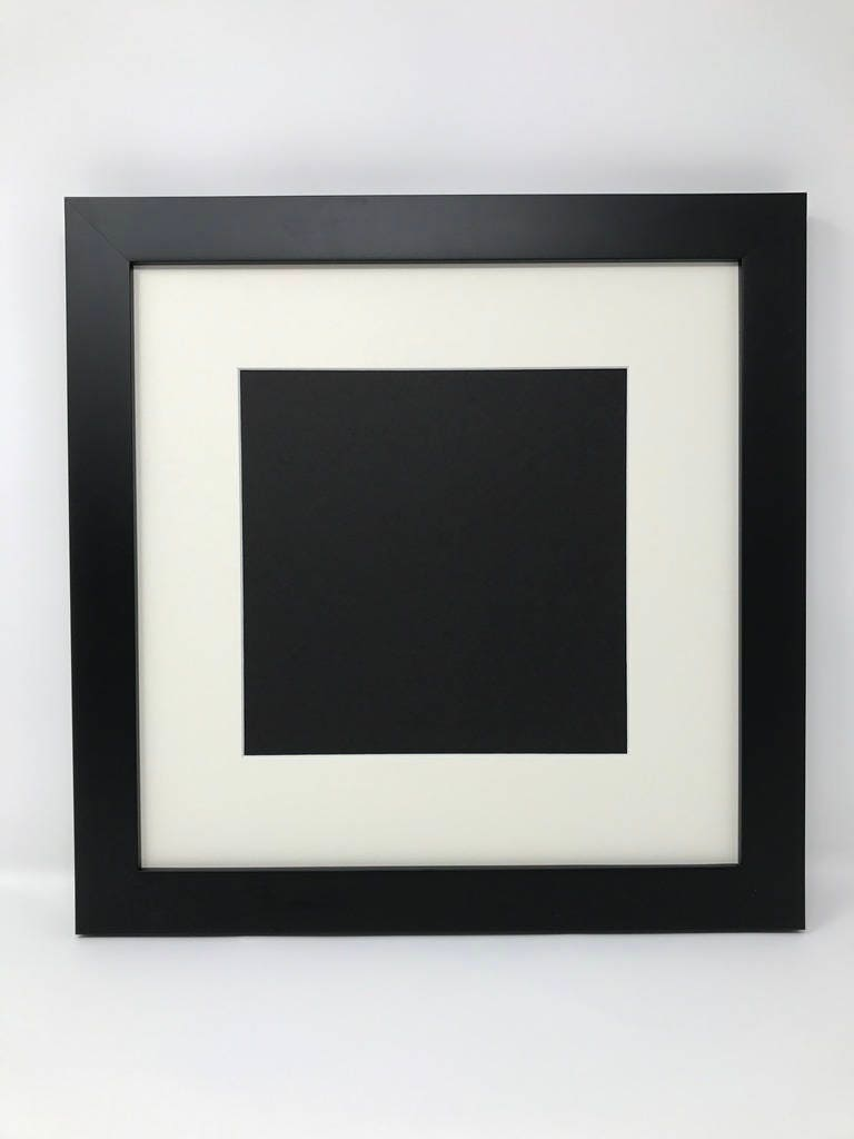 6x6 1.25 Black Solid Wood Picture Frame with Cream Mat Cut for 4x4 ...