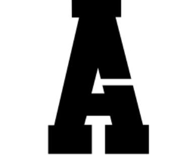 Athletic Font Letter Stencils Made from 4 Ply Mat Board-Choose Your Size and Letter