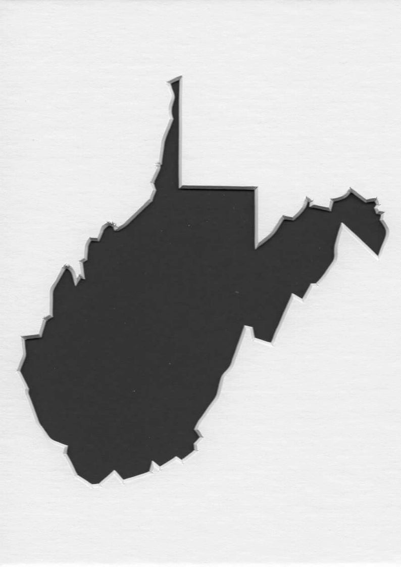 8x8 and 6x6 Pack of 3 Square West Virginia State Stencils Made From 4 Ply Mat Board 12x12 Package includes One of Each Size