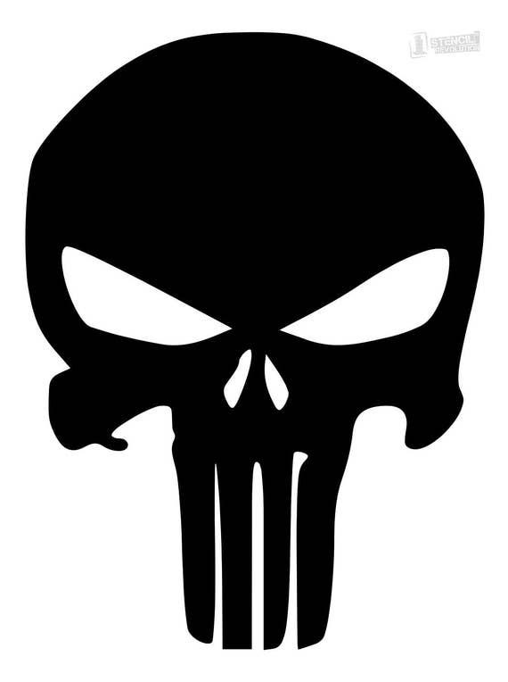 Punisher Skull Stencil Made From 4 Ply Mat Board Etsy