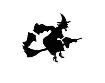 Flying Witch Halloween Stencil Made from 4 Ply Mat Board