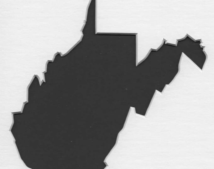 West Virginia State Stencil Made from 4 Ply Mat Board-Choose a Size-From 5x7 to 24x36