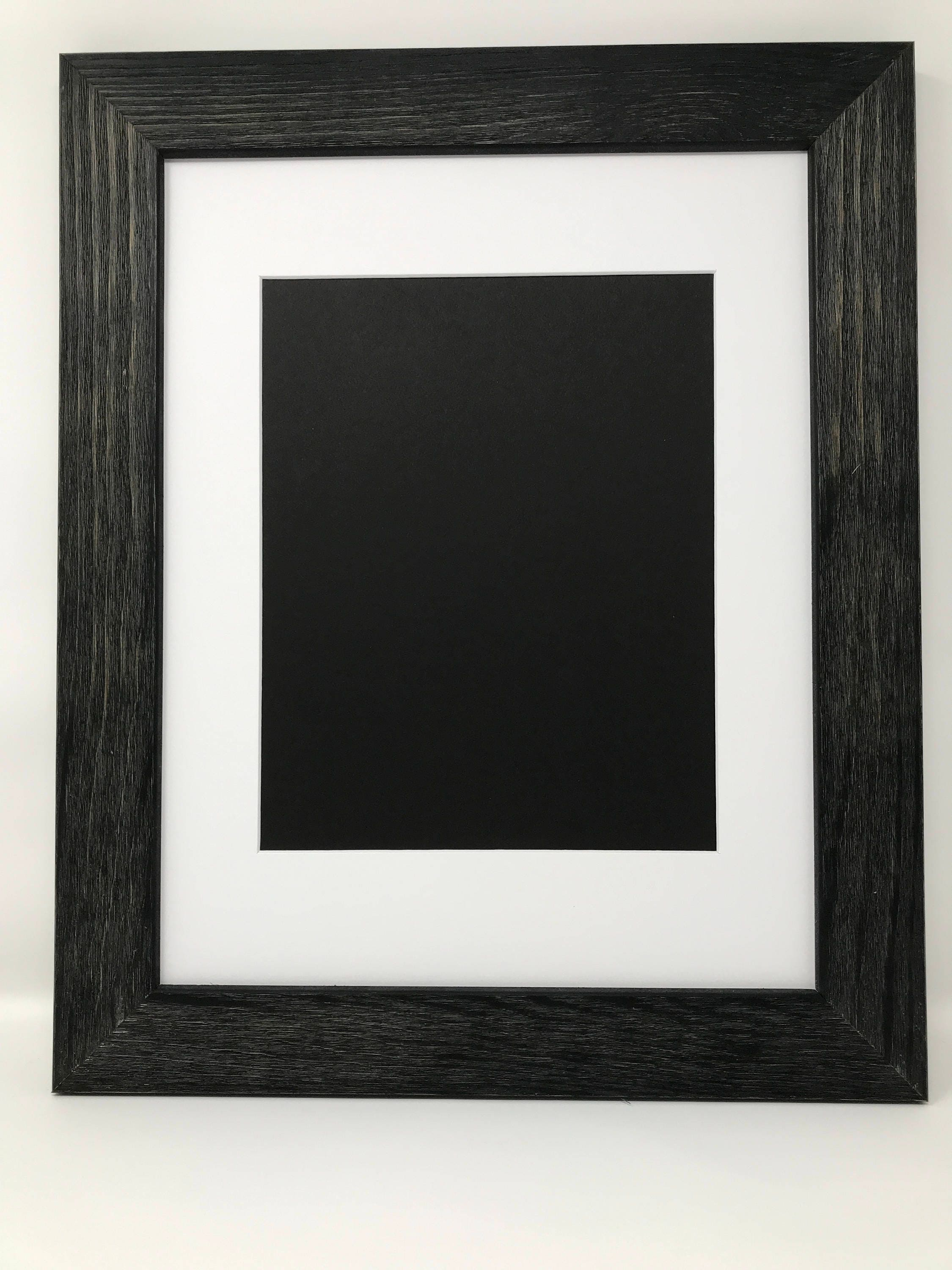 20x24 1.75 Rustic Black Solid Wood Picture Frame with White Mat Cut ...