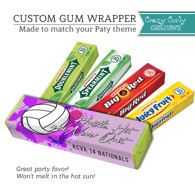 Custom Gum Wrapper Bubble Gum Wrap Personalized Party Favor Printable Label Gum Party Favor Digital Download or Printed /& shipped