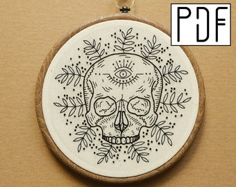 Digital PDF pattern - Black and White Tropical Skull with Eye detail Hand Embroidery Pattern (PDF modern hand embroidery pattern)