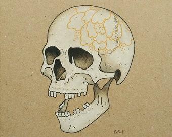 A5 ORIGINAL Art Rose Skull Original Acrylics and Watercolor Painting (skeleton art)
