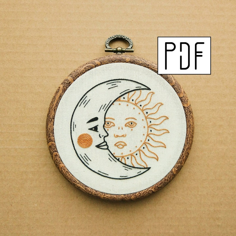 Crescent Moon and Sun Hand Embroidery Pattern