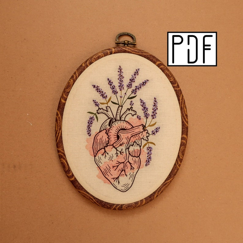 Digital PDF pattern  Lavender Human Heart Hand Embroidery image 0