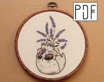 Digital PDF pattern - Lavender Skull Planter Hand Embroidery Pattern (PDF modern hand embroidery pattern)