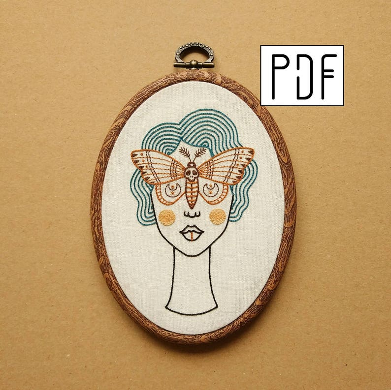 Digital PDF pattern  Skull Butterfly Girl with Blue Hair Hand image 1