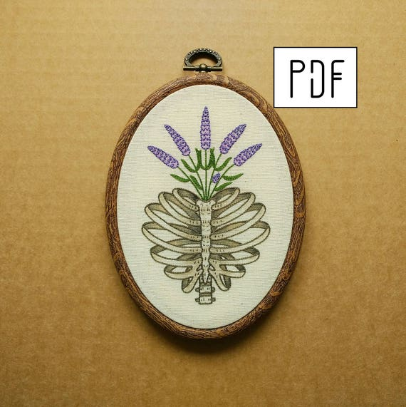 Pdf Pattern Heart Shaped Rib Cage With Lavender Hand Etsy