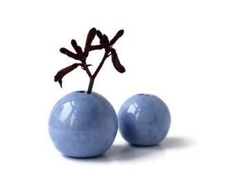 Small Vase, Blue Bud Vase Set, Ceramic Vase, Blue Flower Vase, Gift For Her, Little Blue Vase, Birthday Gift, Mini Vase Set, Homeparty Gift