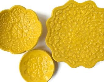 Yellow Dish Set, Small Ceramic Dish, Trinket Set, Yellow Pottery Dish, Serving Dish, Colorful Ceramics, Happy Ceramic Gift, Yellow Ceramics