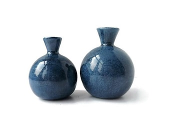 Blue Vase Set, Blue Ceramic Vase, Small Flower Vase, Blue Gift Set, Birthday Gift, Flower Gift, Blue Bud Vase, Christmas Gift, Pottery Vases
