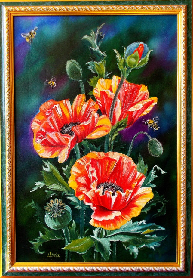 Oil painting poppies painting poppies flower painting etsy image 0 mightylinksfo