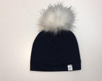 fake fur pompon hat with polar