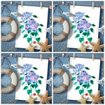Set of 4 cards postal holidays in Brittany Composition Chinese hydrangea print professional paint