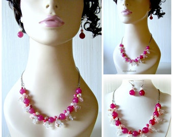 Set Jade-Agate-Quartz-rock crystal - coral tones Fuchsia, pink, clear stainless steel